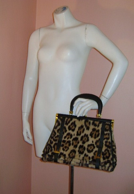 50s purse vintage 1950s handbag BEST FAUX LEOPARD fur Ronay kelly shape purse hand bag buckles