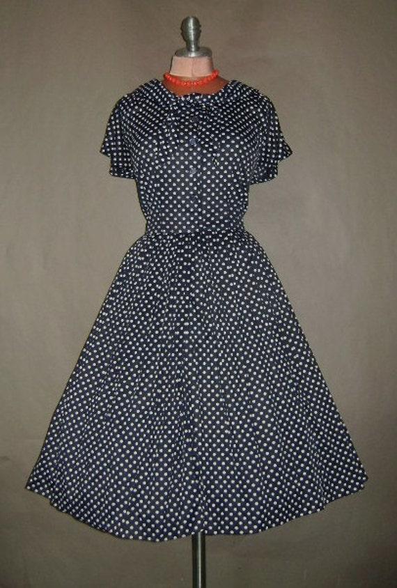 50s dress 1950s vintage BLUE POLKA DOT navy white nylon jersey full skirt sailor shirtwaist dress