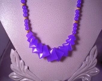 Purple Diamond -shaped Jade Necklace