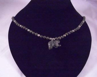 Black Zebra Jasper Bear with Black Agate Beads