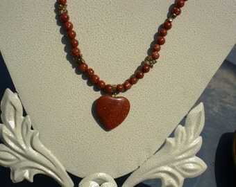 Goldstone Heart with Goldstone and Flower Beads