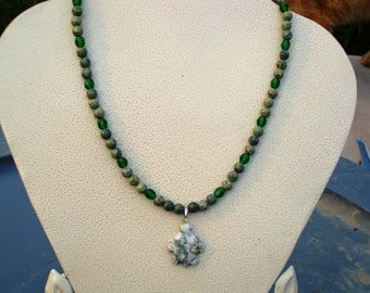Moss Agate Sea Turtle with Rhyolite and Jablonex Glass Beads