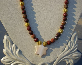 Shell Star of David with Brecciated Jasper Beads
