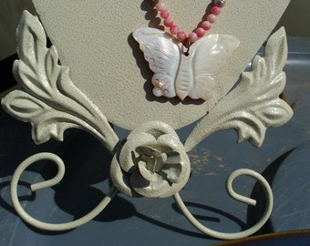 Shell Butterfly with Pink Shell Beads