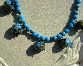 Blue Van Gogh beads with frogs with reconstituted turquoise