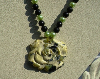Yellow Turquoise Flower with Black Agate and Glass Pearl Beads