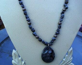 Larvikite Teardrop Pendant with Snowflake Obsidian Beads