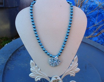 Blue Enamel Flower with Swarovski Crystals and Teal Blue Glass Pearls