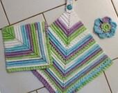 Crochet Pattern Vintage-Look Towel, Dishcloth, Scrubbie Kitchen Set  (3 piece set)