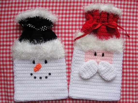 Holiday Christmas Gift Bags Crochet Pattern