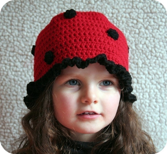 Baby and Girls LADYBUG Beanie Cloche HAT and PURSE Crochet Pattern