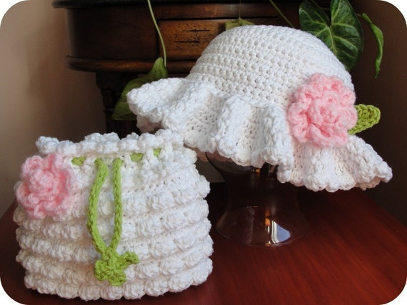 Crochet Pattern EASTER  Baby Child Special Occasion WEDDING Dressy Hat Beanie & Handbag