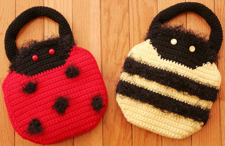 Crochet Clutch Bag Pattern : Child Purse Handbag Crochet Pattern LADYBUG by TooCuteCrochet