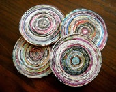 Circular Upcycled Green Earth Friendly Magazine Paper Drink Coasters - Set of 4