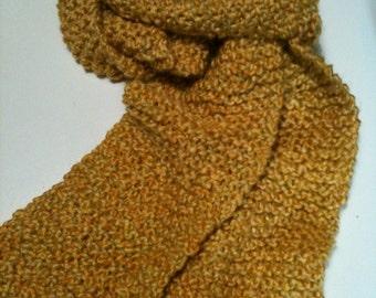 Yellow Golden Scarf Handknitted