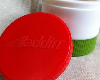 Vintage Aladdin Soup Thermo Jar in Red/White/Green  6 Ounces