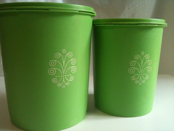 vintage retro tupperware lime green canisters set of 2