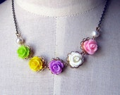Pastel garden --  pastel rose with freshwater pearl necklace
