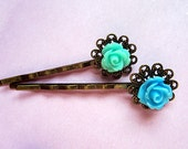 Ocean blue breeze -- Bright blue and mint rose hair bobby pin 2pcs or mix match