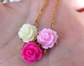 Rose trio- hot pink, light pink, cream color rose gold plate chain necklace