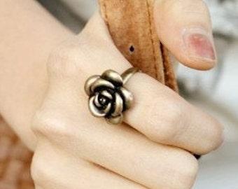 Bronze rose ring adjustable size