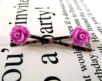 Tiny purple rose bobby pin