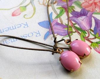 Vintage opaque pink stone kidney or hook earring