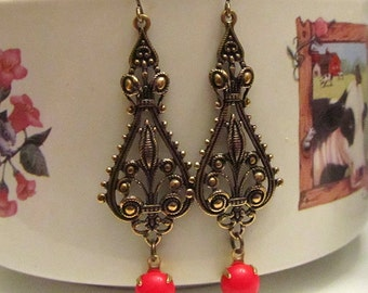 Victorian filigree with red glass stone antique bronze earring