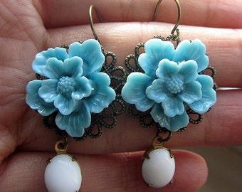 Blue sakura cherry blossom with white stone beads dangle bronze earring hook