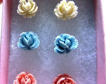Pastel coral blue cream Three rosebud stud earring