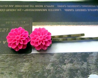 Hot pink crysanthmum hair bobby pin 2oc