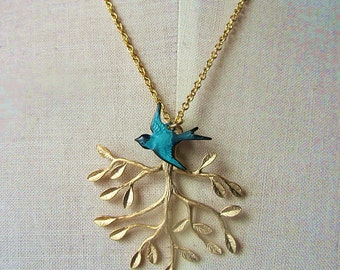 Golden teal- patina teal blue bird with branch tree leaf pendant gold plate chain