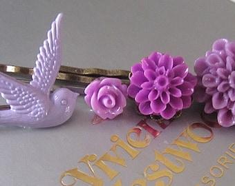 Purple Ruffle hair bobby pin collection 4pcs dove, rose, mum, large mum