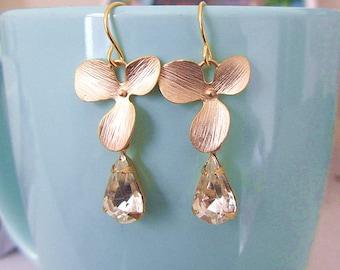 Orchid flower gold plate with teardrop glass stone ebads dangle earrinf