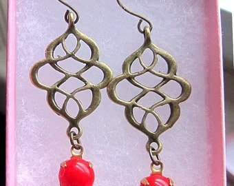 red stone with antique vintage brass charm antique bronze earring hook