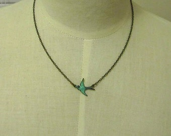 Antique green bird connected necklace 16inch antique bronze chain