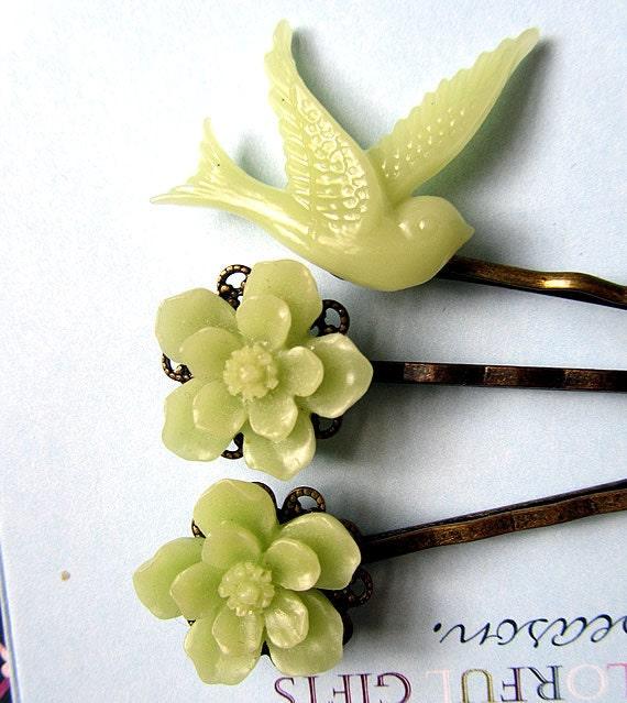 Green sakura with green dove hair bobby pin 3pcs mix match