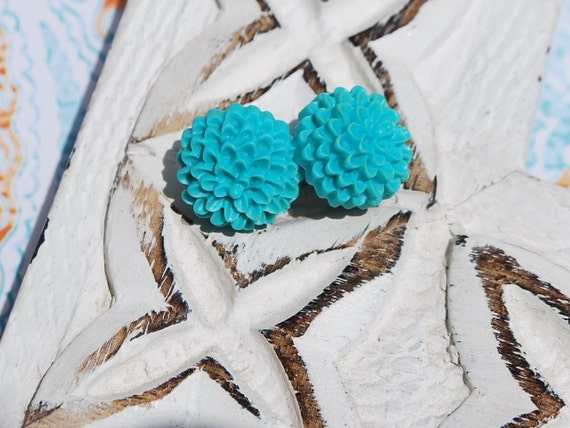Aqua Mum Flower Earrings Buy 3 get 4th Free