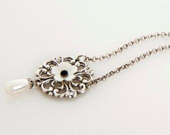 Silver Filigree Flower Necklace - Crystal Jewelry - Pearl Jewelry - Romantic Jewelry - Elegant Jewelry - Filigree Jewelry - Jasmine