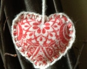 Primitive reclaimed printed wool heart ornament