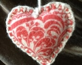 Pretty Printed Primitive Recycled Heart Ornament