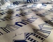 Beach Huts Blue - One Fat Quarter of Original Organic Cotton Fabric