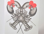 Lobster Love Letterpress Card