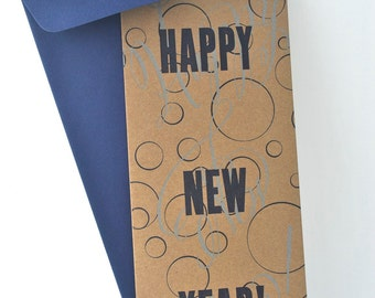 Bubbly Happy New Year Original Letterpress Holiday Card