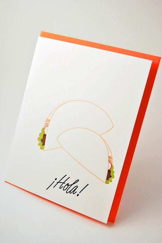 Taco Letterpress Greeting Card