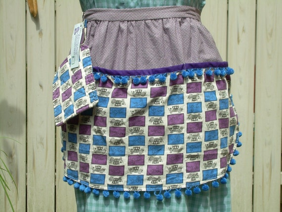 Purple and Blue Chariots Half Apron with 3 Deep Pockets