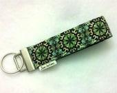 Wristlet Key Fob - Wrist Key Chain - TURQUOISE BROWN GREEN Batik Fabric Keychain