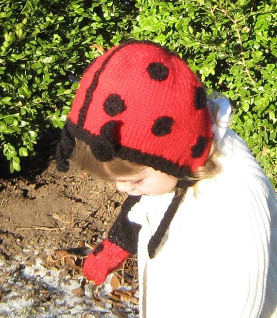 Ladybug Bonnet - Knit and Crochet Pattern Instructions