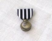 Pocket Watch Brooch... Black and White Grosgrain Medal