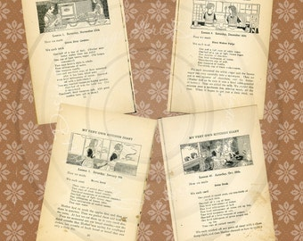 Vintage Roaring Twenties Flapper Girl Cookbook Recipe Pages Digital Instant Download for ACEO's, ATCs, altered art, hang tags, charms